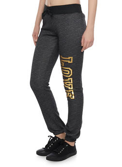 Fleece Joggers with Love Print - 1056038346001