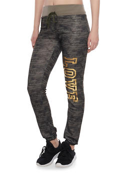 Fleece Joggers with Love Print - OLIVE - 1056038346001