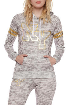 Fleece Space Dye Hoodie with Foil NY Graphic - 1056038346100