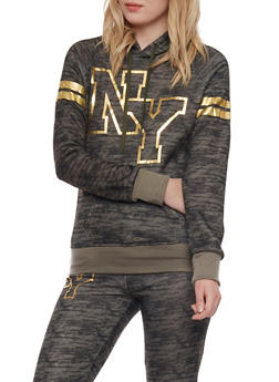 Fleece Space Dye Hoodie with Foil NY Graphic - OLIVE - 1056038346100