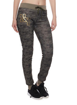 Slim Joggers with NY Graphic - OLIVE - 1056038346102