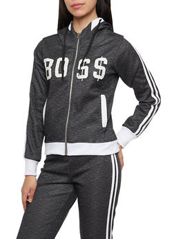 Graphic Zip Hoodie with Boss Print - 1056038346200