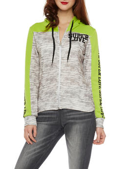 Space Dye Color Block Hoodie with Super Love Graphics - 1056038346300