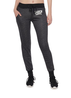 Slim Joggers with Super Love Graphic - 1056038346301