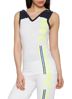 NYC Graphic V Neck Hooded Tank Top - 1056038346600