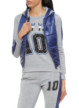 Puffer Vest Jacket With Contrast Hood and Zipper - 1056038347301