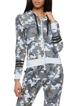 Graphic Camo Hooded Zip Up Sweatshirt - 1056051060028