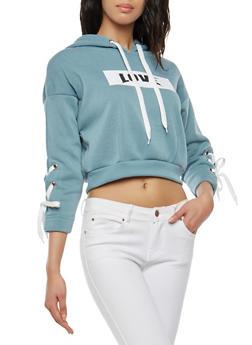 Love Lace Up Sleeve Hooded Sweatshirt - 1056051060031