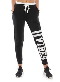 Vibes Graphic Print Sweatpants - 1056051063541