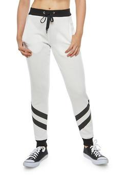 Diagonal Striped Sweatpants - WHITE - 1056051063546