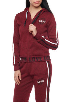 Love Graphic Soft Knit Zip Up Hoodie - 1056051063900