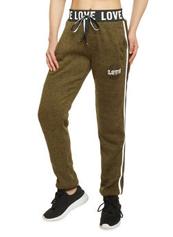 Love Graphic Heavy Knit Joggers - OLIVE - 1056051063901