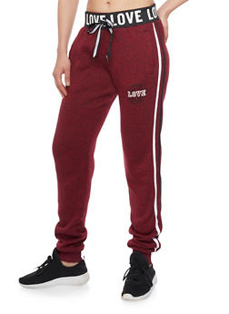 Love Graphic Heavy Knit Joggers - BURGUNDY - 1056051063901