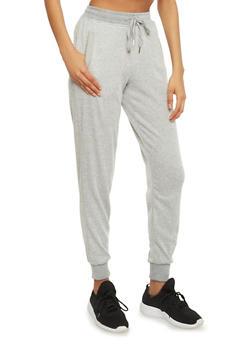 Soft Knit Drawstring Joggers with Three Pockets - 1056051065561