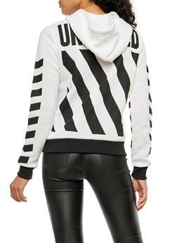 Unedited Graphic Zip Up Hoodie - WHITE - 1056051066138