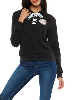 Love Graphic Lace Up Sweatshirt - 1056051066141