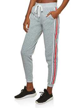Fleece Lined Side Stripe Sweatpants - 1056051066344