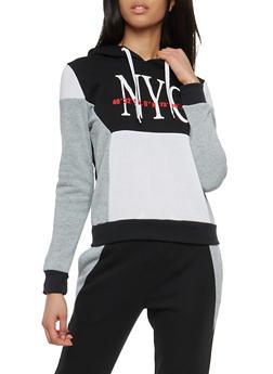 NYC Graphic Color Block Sweatshirt - 1056051066732
