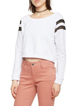 Cropped Sweatshirt with Mesh Stripe Insets - WHITE - 1056054266794