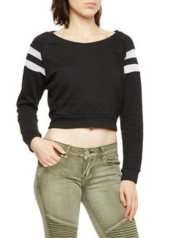 Cropped Sweatshirt with Mesh Stripe Insets - BLACK/WHITE - 1056054266794