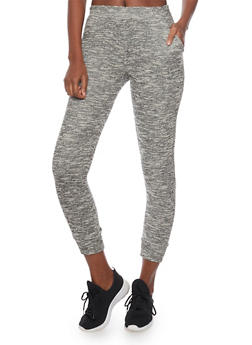 Textured Marled Knit Joggers - 1056054266804