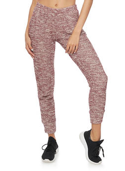 Textured Marled Knit Joggers - BURGUNDY/WHITE - 1056054266804