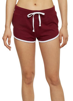 Activewear Shorts with Contrast Trim - BURGUNDY/WHITE - 1056054266939