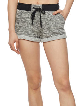 Space Dye Cuffed Drawstring Waist Shorts - 1056054268554