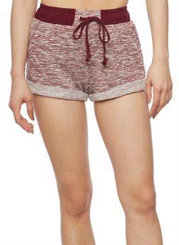 Space Dye Cuffed Drawstring Waist Shorts - BURGUNDY - 1056054268554