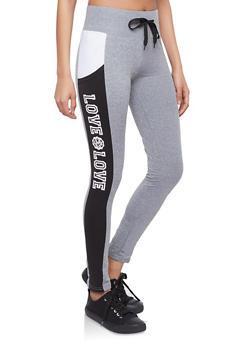 Graphic Color Block Activewear Leggings - 1056072290102