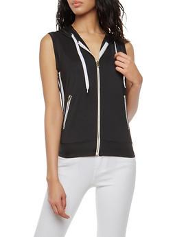 Zip Up Varsity Stripe Hooded Top - BLACK - 1056072290109