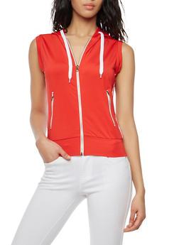 Zip Up Varsity Stripe Hooded Top - 1056072290109