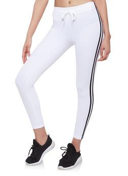 Drawstring Waist Varsity Stripe Sweatpants - WHITE - 1056072290118