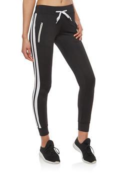 Varsity Stripe Zipper Detail Sweatpants - BLACK - 1056072291109