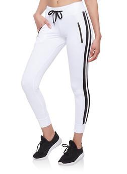 Varsity Stripe Zipper Detail Sweatpants - WHITE - 1056072291109