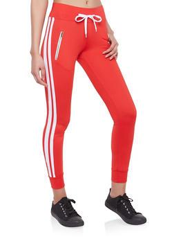Varsity Stripe Zipper Detail Sweatpants - 1056072291109