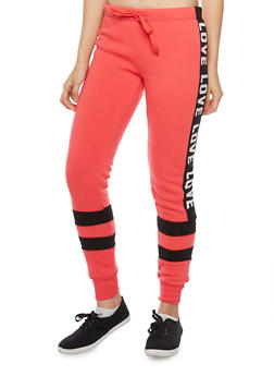 Knit Joggers with Love Print - 1056072291651