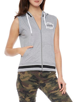 Sleeveless Zip Up Hoodie with Love Graphic - 1056072295000