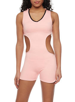 Hooded Activewear Romper with Open Back - 1056072298721
