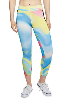 Printed Leggings with Mesh Panel - 1058015990078