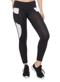 Cropped Colorblock Activewear Leggings - BLACK/WHITE - 1058015990190