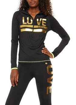 Love Graphic Zip Neck Sweatshirt - 1058038340001