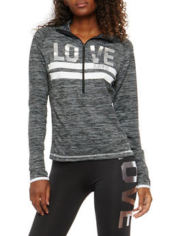 Love Graphic Zip Neck Sweatshirt - 1058038340001