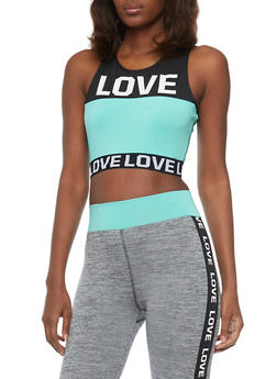 Activewear Crop Top with Love Graphic - 1058038340300
