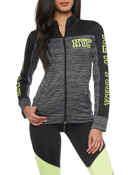 Color Block NYC Printed Zip Up Activewear Jacket - 1058038341000