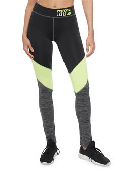 Color Block Activewear Leggings with NYC Graphic - 1058038341002