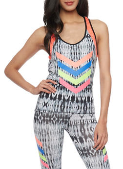 Tie Dye Activewear Tank Top with Open Back and Graphic Chevron Print - 1058038341100