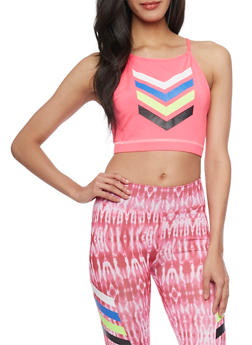 Graphic Chevron Print Activewear Crop Top - 1058038341102