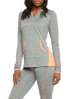 Long Sleeve Hooded Activewear Top - 1058038345000