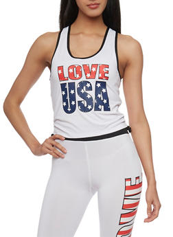 Love USA Tank Top with Ruched Sides - 1058038345003